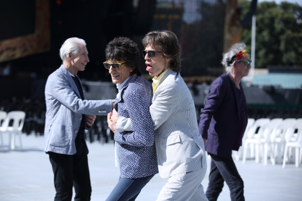 The Stones at the Adelaide Oval - checking out the stage and rehearsing songs - Adelaide, October 23, 2014