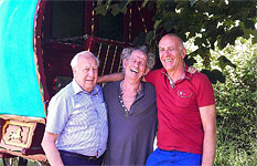 Alan Clayton, Johnny Clayton, Anita, Keith at Keith's house, July 2014