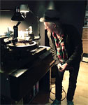 Keith at the mastering sessions for Crosseyed Heart at Sterling Sound, pictured here with the original vinyl acetate