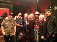 'From Doug Pettibone's Facebook: From left to right: Larry Taylor bass, Jim Keltner drums, Keith Richards guitar and vocals, Waddy Wachtel guitar, Johnny Depp guitar, Ian McLagan keys, and Doug Pettibone pedal steel guitar.' [thx buybuyjohnny!]