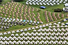Glastonbury luxury caming site; Mick's there, I believe, in his Yurt.