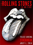 The Rolling Stones Stockholm, June 30, 2014 - the poster: elements from Tele2 Arena