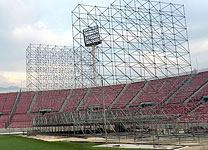 The stage being built up at Santiago de Chile, Estadio Nacional, January 26, 2016