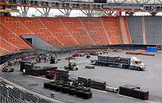 The stage being built up at Santiago de Chile, Estadio Nacional, January 28, 2016