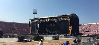 The stage being built up at Santiago de Chile, Estadio Nacional, February 1, 2016