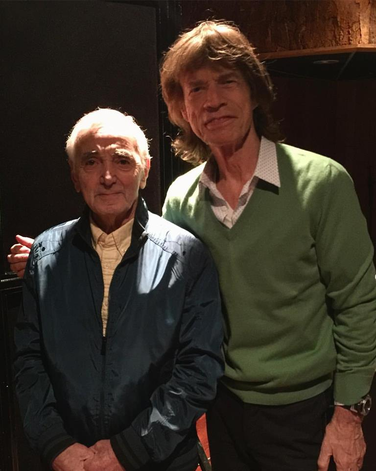 Mick and Chales Aznavour, Paris, Feb. 10, 2017