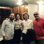 From Andres Levin's FB: 'Look who stopped by to the studio today.' Alain Pérez, CuCu Diamantes, Mick Jagger, Andres Levin. October 5 2015