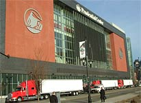 Stones trucks arriving at the Prudential Center