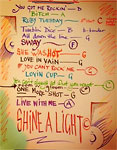 Ronnies list of rehearsed songs at rehearsals in LA, April 18, 2013