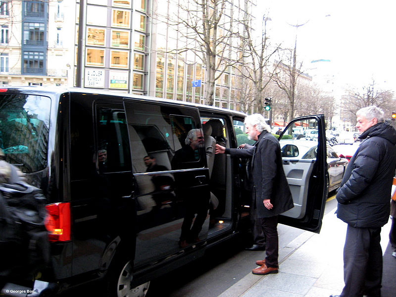 Chuck Leavell leaving the hotel for rehearsals in Paris, February 12, 2014