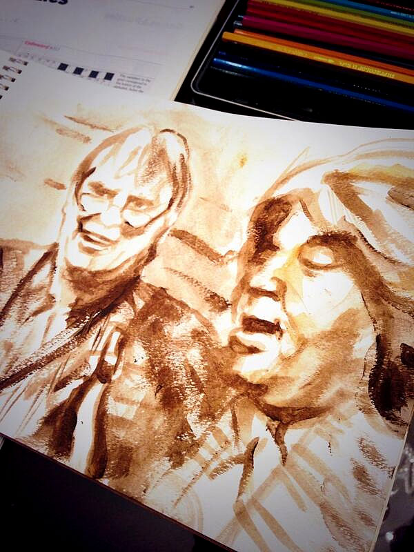 Ronnie: Just done a quick sketch of Bobby Keys & Mick Taylor in rehearsals - Paris Feb. 13, 2014