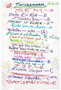 Ronnie's Twickenham setlist