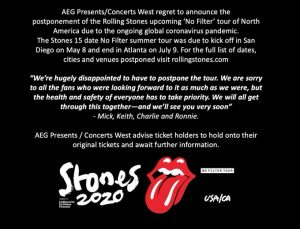 Due to Corona virus: Rolling Stones tour is postponed