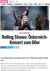 oe24.at: Stones US/Canada tour 2021, Europe 2022